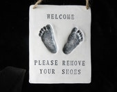 Baby Footprint OUTPRINT Please Remove Your Shoes Sign-mold kit included