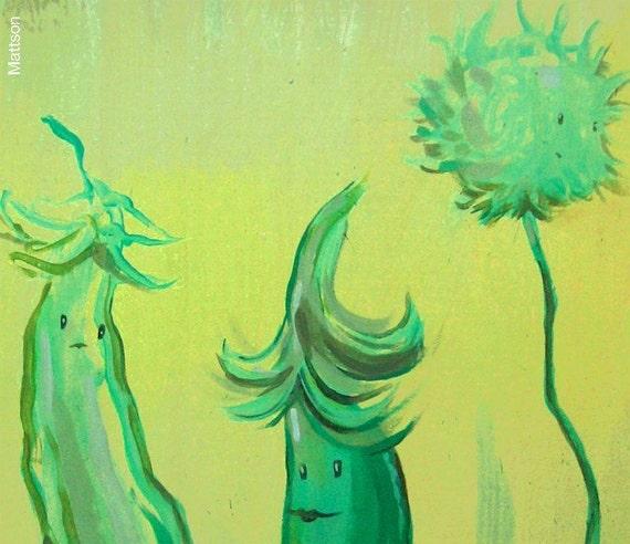 Sugar Snap Peas and Dandelion Painting