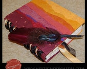 SALE...30 Off...Inspired by the Phoenix...XL Handmade Book...XL Journal and Quill Pen... Patchwork Fire Colors