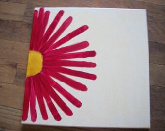 Red Sunburst Flower Painting