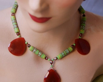 Green Mansions Necklace with Huge Carnelian Faceted stones and vintage Japanese Lime Green Ceramic Beads