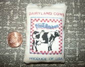 Miniature Dairyland Cows Blue Ribbon Stuffed Feed Bag Sack 1/12 Scale Dollhouse Barn