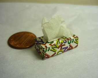 Tissue Box Dollhouse Miniature Alphabet Letters White Tissues 1/12 scale