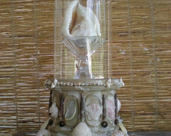 Victorian Keepsake Display Pedestal with Glass Dome Cloche Coquillage