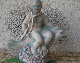 Prince Neptune Statue, Sea Fan Tropical Decor Florida Grouper Beach Decor