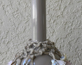 Pottery Vase Embellished with Seashells, Hand woven, beige / taupe