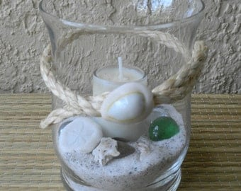 Beach Votive Candle, Candle holder, Tealight candle, Beach Decor, Votive candle