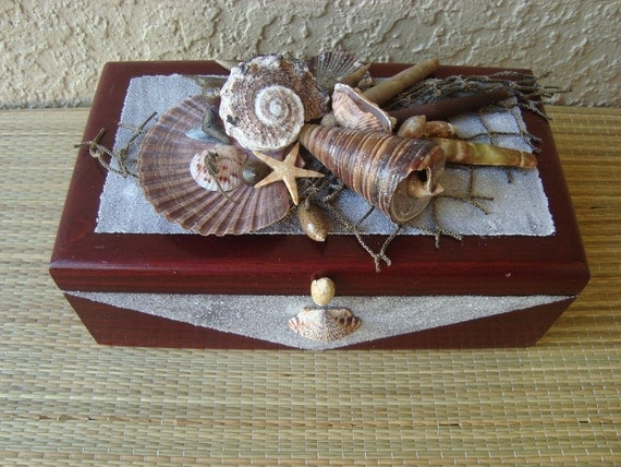 JEWELRY BOX - Red Cherry Wood with Seashells and beach sand