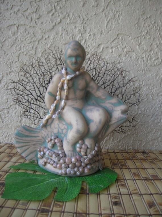 Prince Neptune Statue, Sea Fan Tropical Decor Florida Grouper Beach Decor