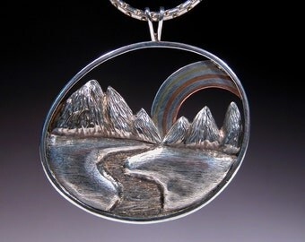 Sterling Silver Pendant with Marriage of Metals MOUNTAIN RAINBOW