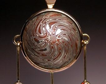 Mokume Gane Pendant in 18 karat Gold with Hessonite Garnets PORTAL