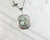 Steampunk Locket - Silver Garden Ring  - Necklace by BirdzNbeez