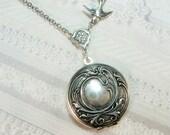 Silver Locket Necklace - Silver Immortal Romance Locket - Jewelry by BirdzNbeez