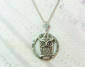 Silver  Necklace - Silver Night Owl -  Owl Necklace - Jewelry by BirdzNbeez