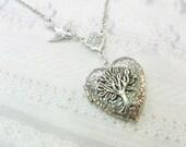 Silver Locket Necklace - Silver TREE OF LIFE Locket - Jewelry by BirdzNbeez - Wedding Birthday Bridesmaids Gift