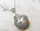 Silver Tree Locket - Silver TREE OF LIFE Locket - Jewelry by BirdzNbeez - Wedding Birthday Bridesmaid Gift