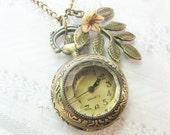 Brass Watch Necklace - Woodland Pocketwatch - Jewelry by BirdzNbeez