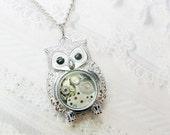 Silver Owl Necklace - Steampunk Owl Necklace - Jewelry by BirdzNbeez