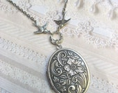 Silver Locket Necklace - ORIGINAL Silver Woodland Locket - Jewelry by BirdzNbeez - Wedding Birthday Bridesmaids Gift