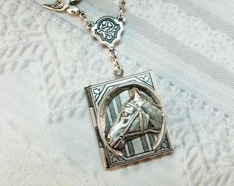Silver Locket Necklace - Silver Equestrian Book Locket - Horse Locket - by BirdzNbeez - Wedding Birthday Bridesmaid