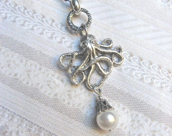 Silver Octopus Necklace - Octopus Pearl Necklace - Jewelry by BirdzNbeez