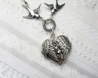Silver Locket Necklace - Angel Wings Silver HEART LOCKET Guardian Angel - by BirdzNbeez - Valentine's Day Wedding Birthday Bridesmaids Gift