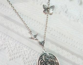 Silver Locket Necklace - ORIGINAL Butterfly and Bird Locket - Jewelry by BirdzNbeez - Valentine's Day  Wedding Birthday Bridesmaids Gift