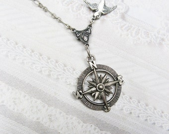 SILVER COMPASS Necklace - Silver Guidance - STEAMPUNK Jewelry by BirdzNbeez -Wedding Birthday Bridesmaids Gift