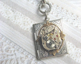 Silver Locket Necklace - Silver Victorian STEAMPUNK Book Locket - Jewelry by BirdzNbeez - Wedding Birthday Bridesmaids Gift