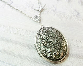 Silver Locket Necklace - SILVER FLOWERS Wildflowers - ORIGINAL Jewelry by BirdzNbeez - Wedding Birthday Bridesmaids Gift