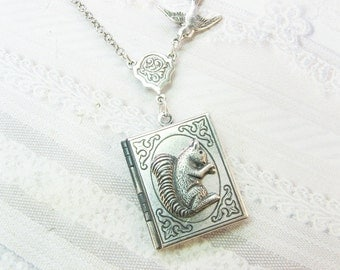 Silver Locket Necklace - The Silver Baby Squirrel Book Locket - Jewelry by BirdzNbeez