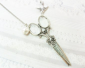 SILVER SCISSORS Necklace - Silver Pearl Scissors - Jewelry by BirdzNbeez - Wedding Birthday Hair Stylist Seamstress Gift