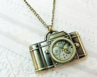 The ORIGINAL Camera Necklace - Steampunk Camera - Jewelry by BirdzNbeez - Graduation Photographer Wedding Birthday Bridesmaids Gift