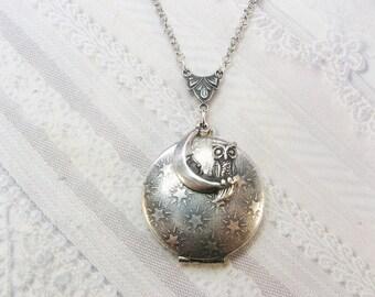 Silver Locket Necklace - Silver Night Owl -  Owl Locket - Jewelry by BirdzNbeez