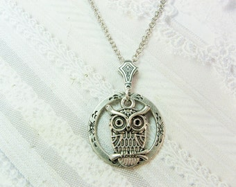 Silver  Necklace - Silver Night Owl -  Owl Necklace - Jewelry by BirdzNbeez