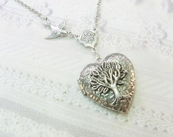 Silver Locket Necklace - Silver TREE OF LIFE Locket - Jewelry by BirdzNbeez - Wedding Birthday Bridesmaids Gift