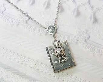 Silver Locket Necklace - Silver Night Owl Book Locket -  Owl Locket - Jewelry by BirdzNbeez