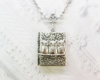 Silver Locket Necklace - Silver Owls on a Branch Book Locket - by BirdzNbeez