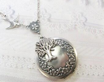 Silver Tree Locket - Silver Tree of Life Locket -  Jewelry by BirdzNbeez - Easter Wedding Birthday Bridesmaid