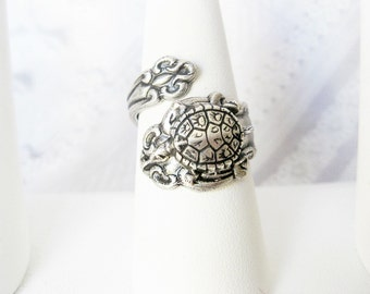 Silver Spoon Ring - Silver Turtle SPOON RING  -  Silver Turtle Ring -  Original Jewelry by BirdzNbeez