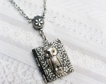 Silver Locket Necklace - The Original Silver OWL BOOK LOCKET - Jewelry by BirdzNbeez - Wedding Birthday Graduation Bridesmaid Gift