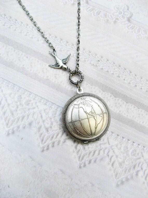 Silver Locket Necklace - Silver Globe One World - Jewelry by BirdzNbeez - Wedding Teacher Graduation Bridesmaids