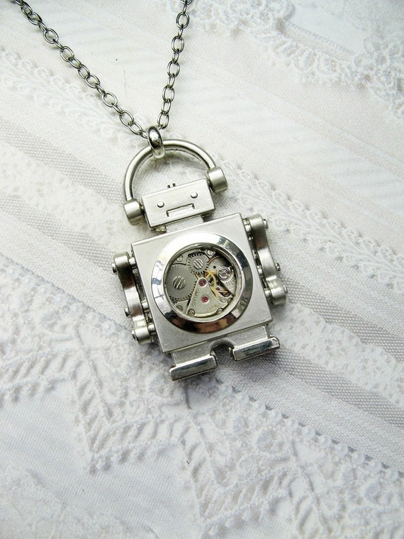 Silver Robot Necklace - Steampunk Robot - ORIGINAL by BirdzNbeez