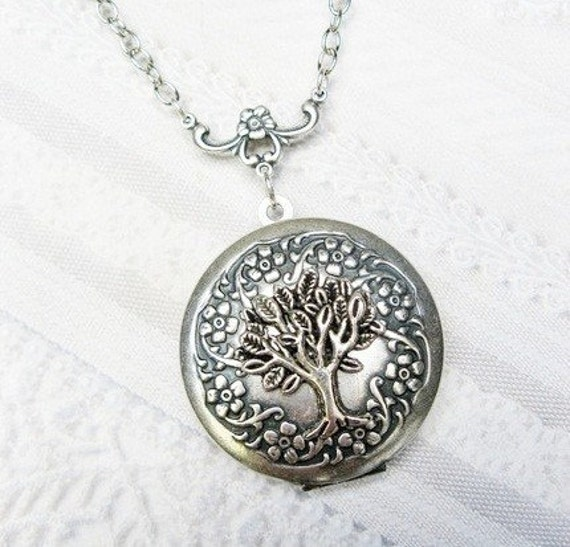 Silver Locket Necklace - Silver TREE Of LIFE Locket - The ORIGINAL - Jewelry by BirdzNbeez - Christmas Wedding Birthday Bridesmaids Gift