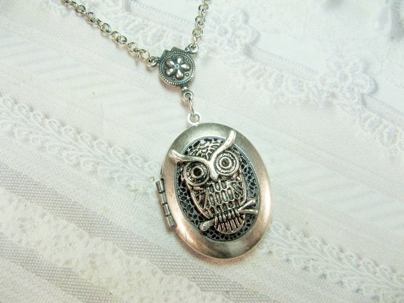 Silver Locket Necklace - Hoot Owl Scent Locket - Owl Locket - Jewelry by BirdzNbeez - Wedding Birthday Teacher Friend Gift