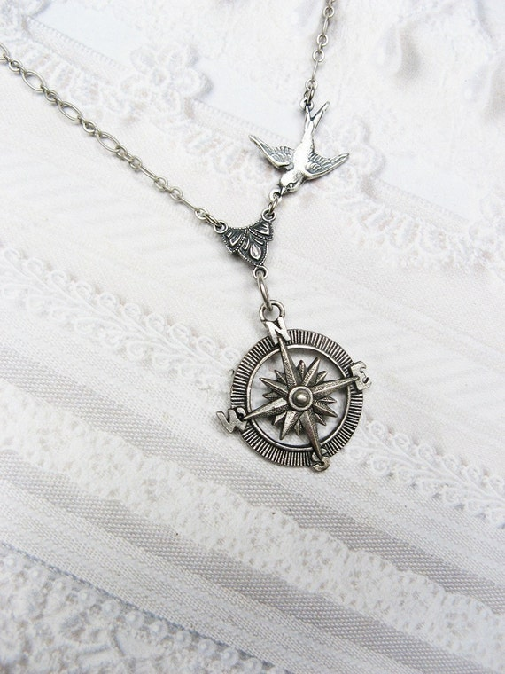 Silver Compass Necklace - GRADUATION Silver Guidance - STEAMPUNK Graduate Gift Wedding Birthday Bridesmaids Gift