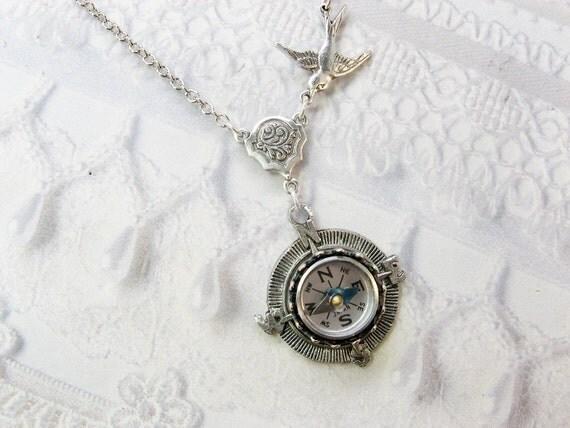 Silver Compass Necklace - Silver Homeward Bound - Jewelry by BirdzNbeez - Graduation Graduate Teacher Birthday
