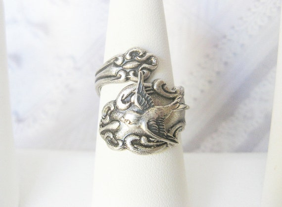 Silver SPOON RING - ADJUSTABLE Bird Spoon Ring - Original Jewelry by BirdzNbeez -  Wedding Birthday Bridesmaids Gift