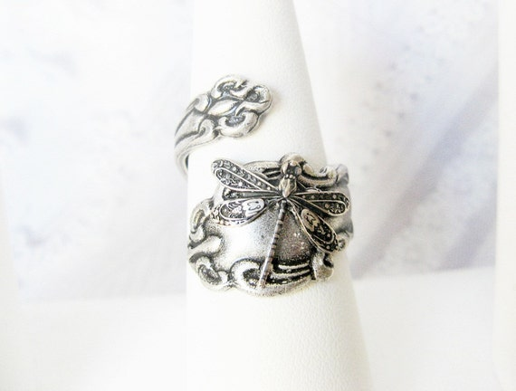 Spoon Ring - Adjustable Silver Dragonfly SPOON RING - ORIGINAL Jewelry by BirdzNbeez -  Keepsake Wedding Birthday Bridesmaids Gift