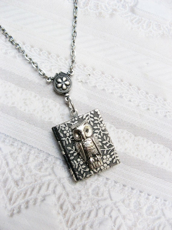 Silver Locket Necklace - The Original Silver OWL BOOK LOCKET - Jewelry by BirdzNbeez - Wedding Birthday Graduation Bridesmaid Gift